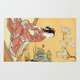 Woman & Cherry Blossoms Rug