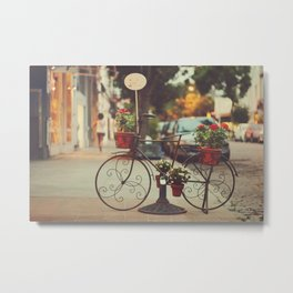 The bike with the flowers Metal Print