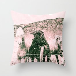 Southwest Horses Black and White Throw Pillow