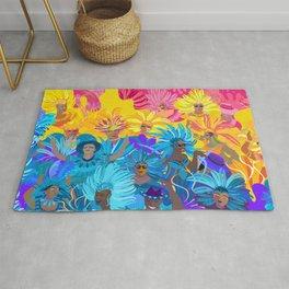 Samba Dancers. Carnival Festive Arrangement Abstract Contemporary Modern Art Colors Festival Party Rug