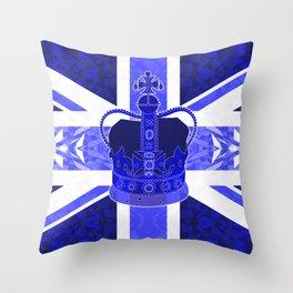 Royal Blue - British Flag & Crown Throw Pillow