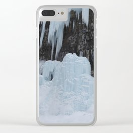 Johnston canyon frozen icicles Clear iPhone Case