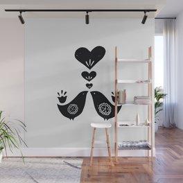 Scandinavian Love Birds Wall Mural