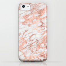 Marble - Pink Rose Gold Marble White Metallic iPhone Case and Throw Pillow Design Slim Case iPhone 5c