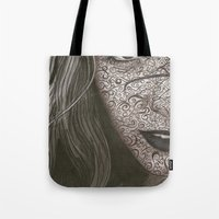 no face Tote Bags featuring Face  by Kate Allison