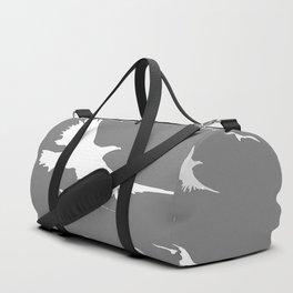 WHITE BIRDS IN FLIGHT GREY ABSTRACT MODERN ART Duffle Bag