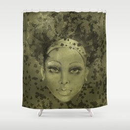 Abstract  Female Face with  card suits Shower Curtain