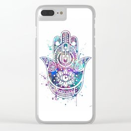 Hamsa Hand Watercolor Poster Wedding Gift Clear iPhone Case