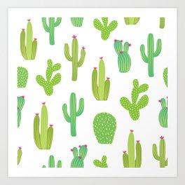 Colorful cactus desert illustration pattern. Green cactuses on white. Art Print