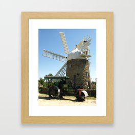 Heage windmill and road roller Framed Art Print