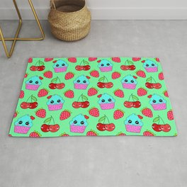 Cute funny sweet adorable happy little blue baby cupcakes, little cherries and red ripe summer strawberries cartoon fantasy light pastel green pattern design Rug