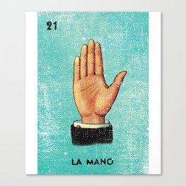 La Mano Mexican Loteria Bingo Card Canvas Print