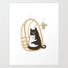 Animal hugs 1 cats & plant Art Print