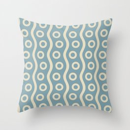 Mid Century Modern Rising Bubbles Pattern 2 Blue and Cream Throw Pillow