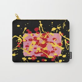 Paint Dance Pink Square Yellow Red on Black Carry-All Pouch