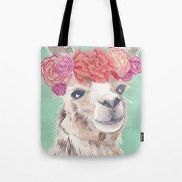 Flower Crown Llama Tote Bag