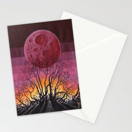 Red Moon Landscape Stationery Cards