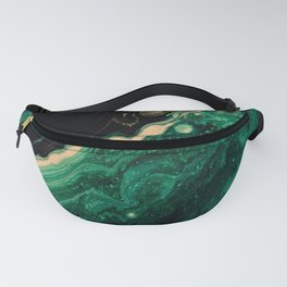 Abstract Pour Painting Liquid Marble Abstract Dark Green Painting Gold Accent Agate Stone Layers Fanny Pack