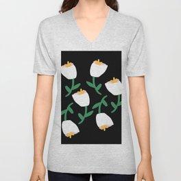 Tulips Dancing in White on Black Unisex V-Neck