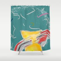 fishing Shower Curtains featuring FISHING by  ECOLARTE