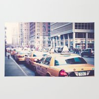 taxi driver Area & Throw Rugs featuring Taxi! by Just Being Creative