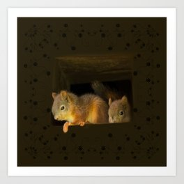 Young squirrels peering out of a nest #decor #buyart #society6 Art Print
