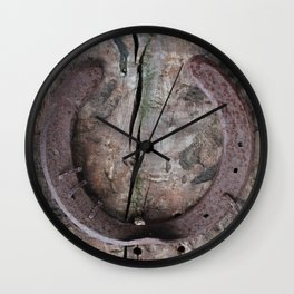 Rusted Horseshoe on Weathered Wood rustic decor Wall Clock