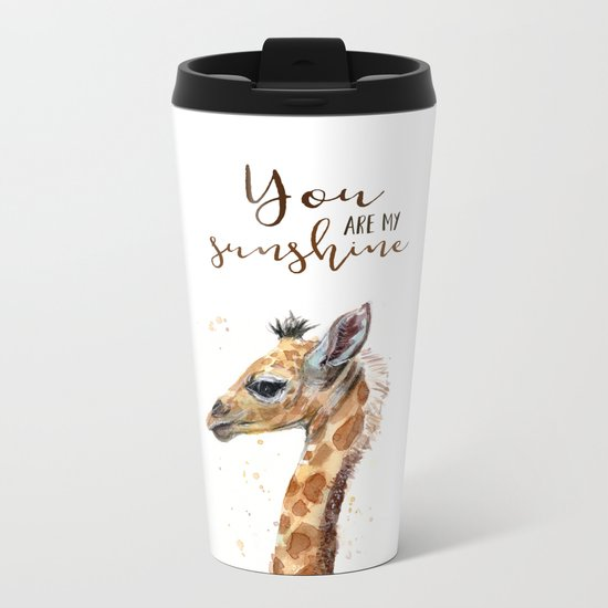 You Are My Sunshine Giraffe Nursery Animals Watercolor Art Metal Travel Mug