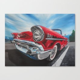 Red 57 Bel Air Convertible oil and acrylic painting Canvas Print