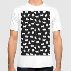 White cats on black MEDIUM White Mens Fitted Tee