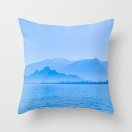 Blue Ocean and Mountains Scenery Throw Pillow