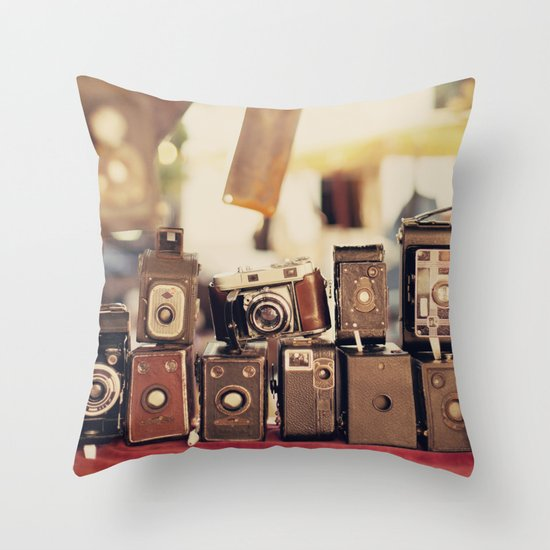 Old Cameras (Vintage and Retro Film Cameras Collection) Throw Pillow