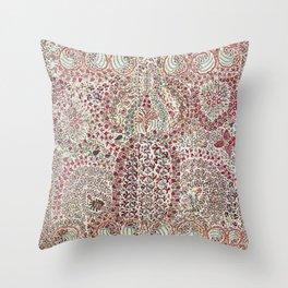Garden Suzani East Uzbekistan Embroidery Print Throw Pillow