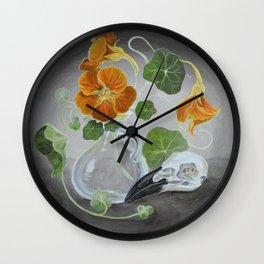 Stilllife with Tropaeolum majus, bird skull and a glass vase Wall Clock