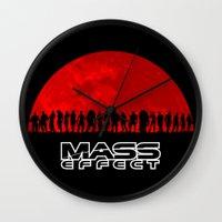 mass effect Wall Clocks featuring Mass Effect by TxzDesign