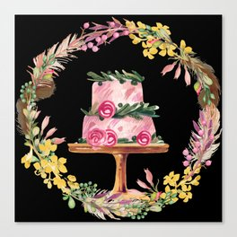 Cake Wreath Rose Pink Canvas Print