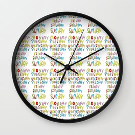 days in a week 1- day,week, daytime,dia,semana,child,school Wall Clock
