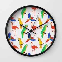 Tropical Birds Pink Background Wall Clock