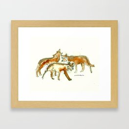 Three Wolves Framed Art Print