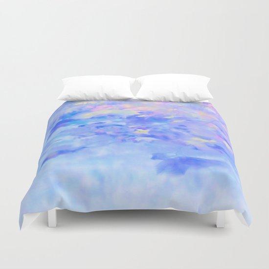 Blue Leaves under a Lavender Sky Duvet Cover