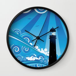Blue stylized sea with big waves and lighthouse Wall Clock