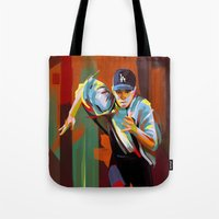 dodgers Tote Bags featuring The Showdown by Travis Clarke
