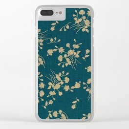 Gold Green Blue Flower Sihlouette Clear iPhone Case