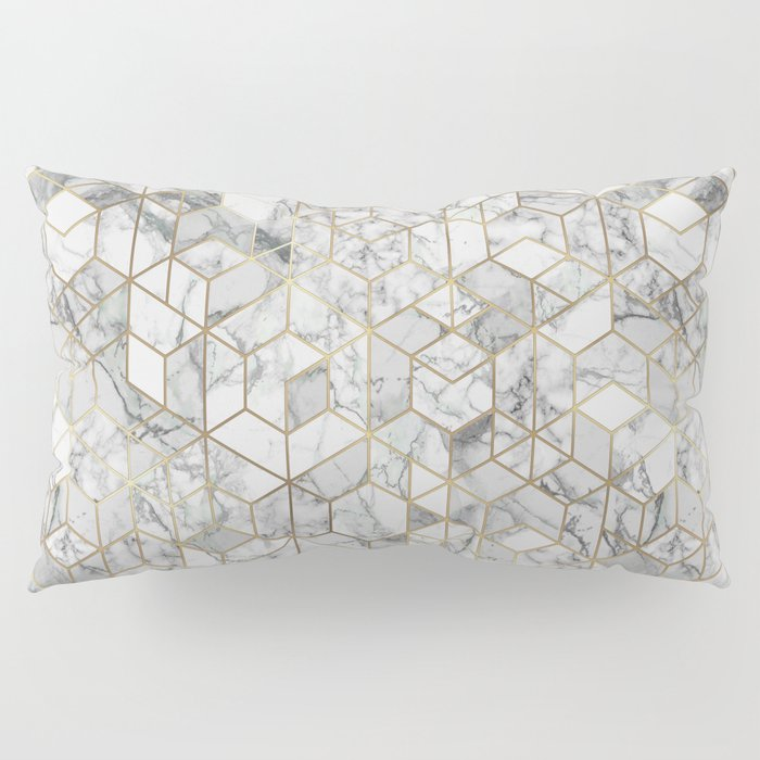 White marble geomeric pattern in gold frame Pillow Sham by ...