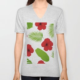 Red hibiscus and palm leaves seamless pattern. Unisex V-Neck