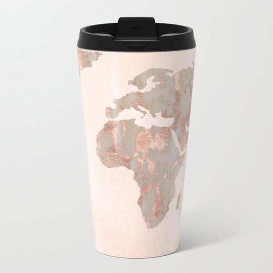 Rosegold Marble Map of the World Metal Travel Mug