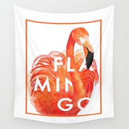 Mr. Flamingo with Text Wall Tapestry