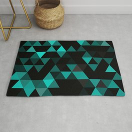 Chic Colors Funky Retro Polygon Triangles Mosaic Pattern Rug