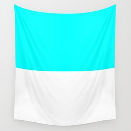 White and Aqua Cyan Horizontal Halves Wall Tapestry