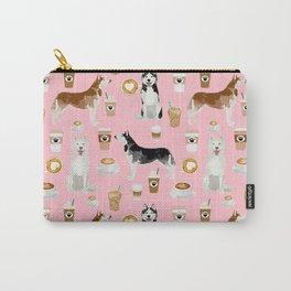 Husky siberian huskies coffee cute dog art drinks latte dogs pet portrait pattern Carry-All Pouch